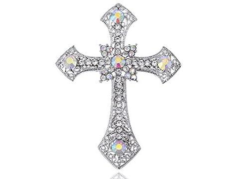 Alilang Holy Anglo Saxon Clear & AB Crystal Rhinestones Cross