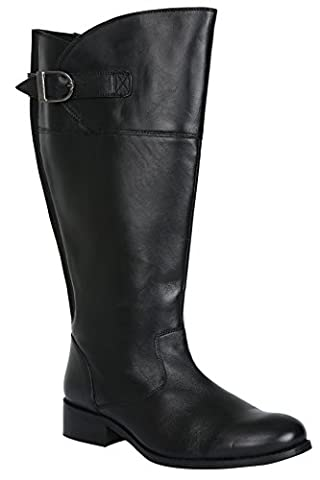 Womens Knee High Leather Riding Boots With Elasticated Panels In Eee Fit Size 5EEE Black