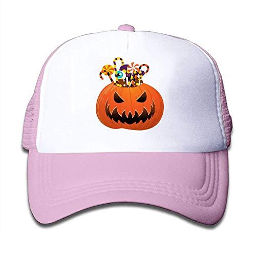 LLALUA Halloween Pumpkin Print Mesh Back Snapback Trucker Cap Hat - Striped Mesh Back Cap