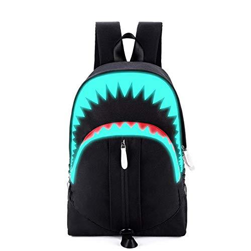 Waroomss Leuchtende Schultasche,Luminous Rucksack mit USB Ladeanschluss, Laptop Rucksack Schultasche, Shark Mouth Cartoon Wasserdichte Bookbag Daypack für Jungen Mädchen