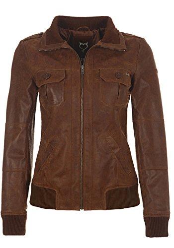 DESIRES Fame Damen Lederjacke Bikerjacke Echtleder Mit Stehkragen, Größe:XS, Farbe:Cognac (5048)
