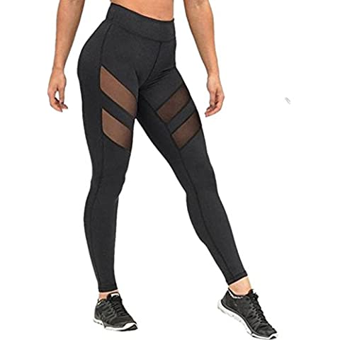 Sport pantalones de yoga, ✽Internet✽ Las mujeres de cintura alta polainas flacas de remiendo malla hacia arriba pantalones de yoga