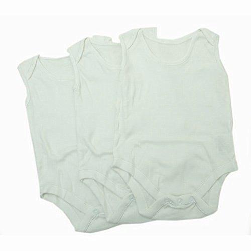 Baby Bodys Unisex, ärmellos (3 Stück) (68-74 cm, 9 kg) (Weiß)