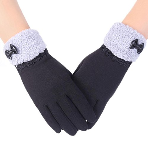 Koly Pantalla táctil de la manera deporte al aire libre guantes calientes del invierno de las mujeres (Negro) (Negro)