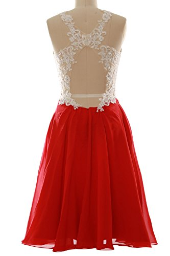 MACloth Women High Neck Lace Chiffon Short Prom Dress Formal Party Ball Gown Fuchsia