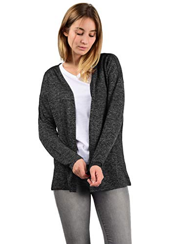 VERO MODA Cara Damen Strickjacke Feinstrick Cardigan Strickcardigan Mit Offenem Ausschnitt, Größe:XS, Farbe:Dark Grey Melange