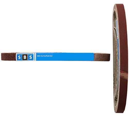 SBS Gewebe-Schleifbänder | 13 x 457mm | 96 Stück | Körnungen je 16x 40/60/80/120/180/240 für Black & Decker Powerfeile
