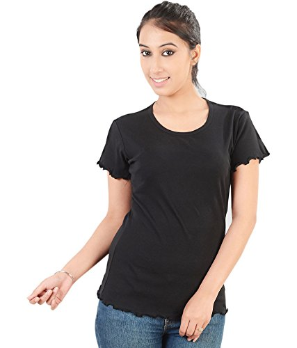 Neevov Women's Black Lettuce Edge Tee-XL