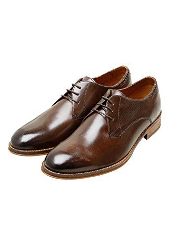 Chaussures Derby Couleur Unie Marron Pour Homme