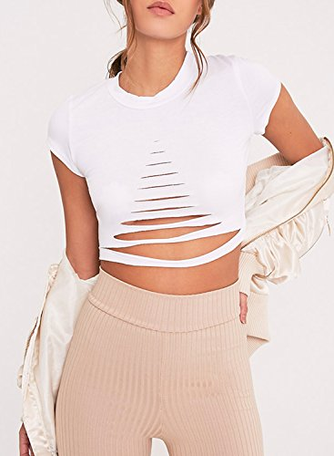 ACHICGIRL Women's Short Sleeve Ripped Solid Crop Top white