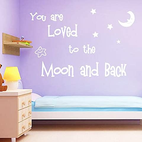 homemay PVC Stickers Muraux anglais Lune Love Love Moon Star Décoration greenwallpaper27.9 cm x 61 cm, blanc, 27.9cm x 61cm