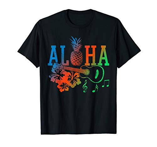 Aloha - Ukulele Ananas Hawaii Hibiskus Sommer Geschenk T-Shirt (Aloha-shirt Hawaii Hibiskus)
