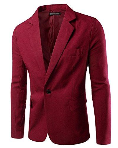 Homme Blazer Slim Fit Veste Casual Business Elegant Un Bouton Costume Manteau Jacket Vin Rouge S
