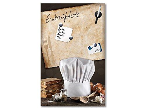 Lavagna magnetica in vetro lavagna magnetica da parete posate per cappello da cuoco da cucina sale pepe, 80 x 50 cm