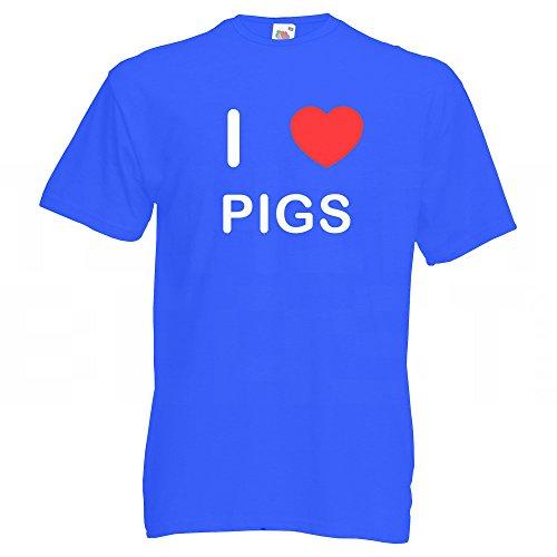 I Love Pigs - T-Shirt Blau