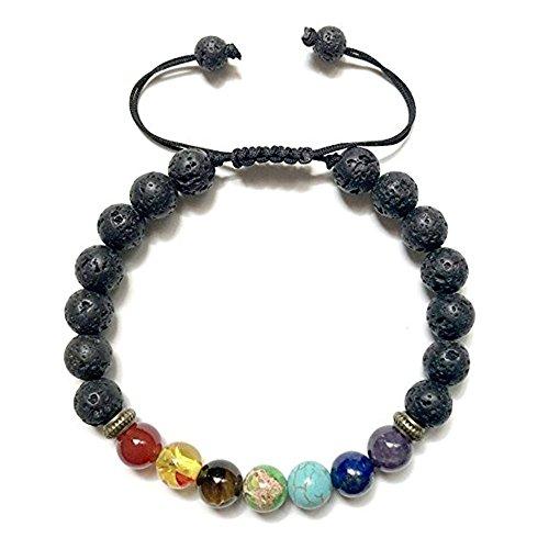 MSQ Lava-Armband Reiki-Energietherapie Yoga Armreif 7 Chakra Healing 8mm Lava Beads Buddha-Armband Geflochte Armband