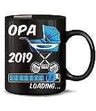 Golebros Geschenk für werdenden - Opa 2019 Loading 6225 Schwangerschaft Geburt Baby Junge Babyparty Tasse Becher Kaffeetasse Geschirr deko Schwarz AD Blau