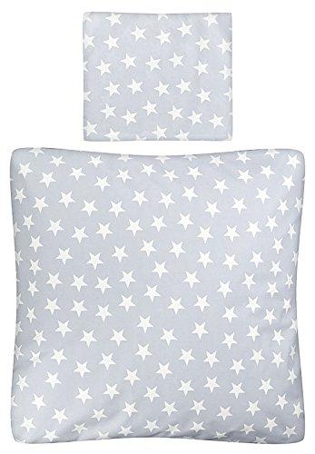 Aminata Kids – Babybettwäsche á 80x80 cm Kinder Jungen Sterne Sternchen Wiegenbettwäsche Baumwolle + Reißverschluss Wiegenset Blau Hellblau Mint Bettbezug Kinderwagenbettwäsche Kinderbettwäsche Jungs