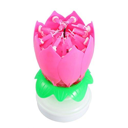 BESTOYARD Velas musicales de cumpleaños Lotus Flower Candle Cake Topper para la decoración de la fiesta de cumpleaños (rosa)