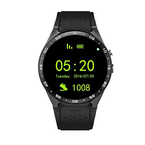 KING-WEAR KW88 SmartWatch Pedometer Heart Rate Device Anti-lost For Android 5.1 OS Support Wifi Black Tarnish/Black Gold - Black Tarnish