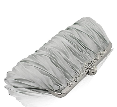 Signore Spalla Portatile Borse da Sposa Damigella D'onore Matrimonio Cena Clutch argento