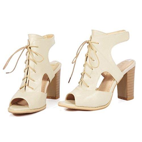 COOLCEPT Femmes Mode Party Chaussures Dentelle Slingback Gladiateur Sandales Bloc Talons hautss Beige