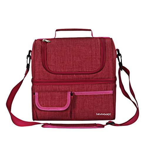SO-buts Premium Insulated Medium Lunchpaket Mit Schultergurt Lunchpaket Kühler, Double Lunchpaket Beutel Wasserdichter Kühler Beutel Lunchpaket(Pink) -