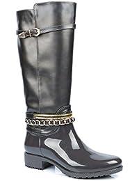 Ideal Shoes - Bottes de pluie bi-matière avec ceinturons Laurinda