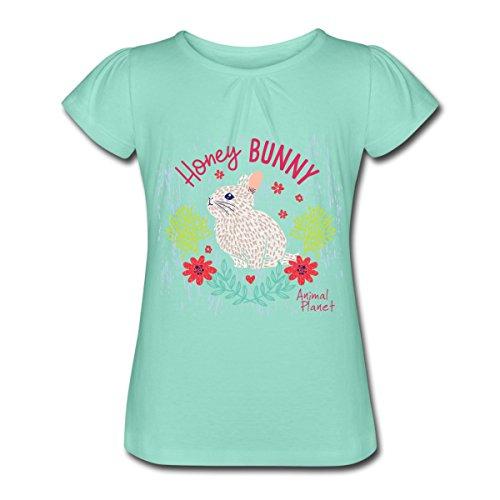 Spreadshirt Animal Planet Too Cute Häschen Honey Bunny Mädchen-T-Shirt mit Raffungen, 10 Jahre, Mintgrün (Kaninchen Animal Planet)