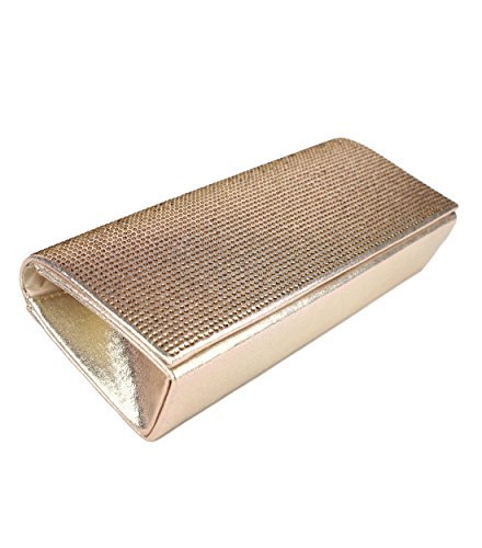 b7c615eef2c1e Schompi Glitzernde Damen Tasche Abendtasche Clutch Bag mit abnehmbarer  Schulterkette Kettentasche Strasssteine Gold