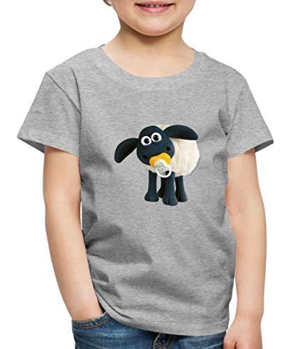 Spreadshirt Timmy Shaun das Schaf Kinder Premium T-Shirt, 110/116 (4 Jahre), Grau meliert