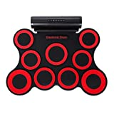Hand Roll Electronic Drum Set, 9 Portable Electronic Drum Folding Practice Built-in Two Speakers, geeignet für Kinder, Anfänger, Erwachsene,Red