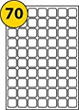 70 Per Page/Sheet, 20 Sheets (1400 Sticky SQUARE Labels), White Blank Self-Adhesive Plain A4 Stickers, Printable With Laser/Copier or Inkjet Printer, 25 x 25 MM, FOR JAM FREE PRINTING - Labels4u ®TM