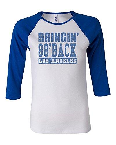 Bringing 88' Back Dodgers Women's Bella Canvas Baby Rib Three Quarter Sleeve Contrast Raglan T-Shirt Tee - White/Royal Blue (White Rib Baby Tee)