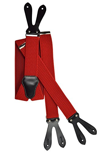 Olata unisex bretelle regolabili con vera pelle asole, 4cm larghezza - rosso