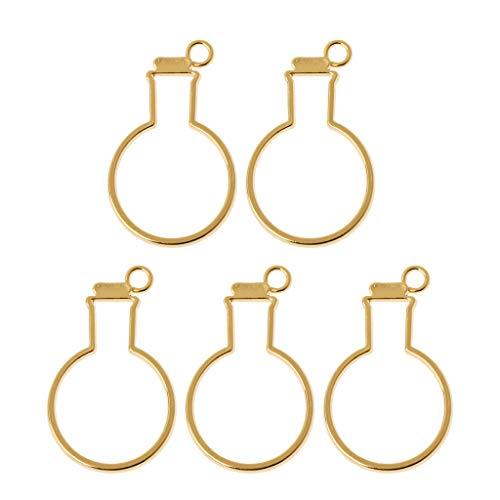 FURU Metals Frames Formen,5 Stücke Birne Flaschen UV Rahmen Anhänger Offene Lünette Einstellung Für UV Harz Schmuck DIY -