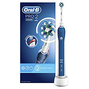 Oral-B PRO 2 2000N - CrossAction Electric Toothbrush Rechargeable Powered by Braun (Packaging May Vary), 1 Handle, 2 Modes Including Gum Care, 1 Toothbrush Head, (UK 2-Pin Bathroom Plug)
