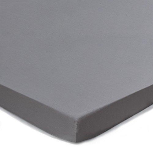 """Baumwoll-satin-matratze-auflage (URBANARA Topper-Spannbettlaken """"Vivy"""", 100% reine Baumwolle, Grau, Satin, 160 x 200 x 10 cm, Satin-Bettlaken für Auflagen, Bettlaken für Topper-Matratzen, Baumwoll-Laken)"""