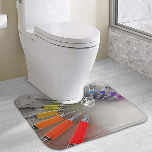 Vidmkeo Bath Mat Non Slip Absorbent Super Cozy Coral Velvet Bathroom Rug Toilet Carpet (15.74