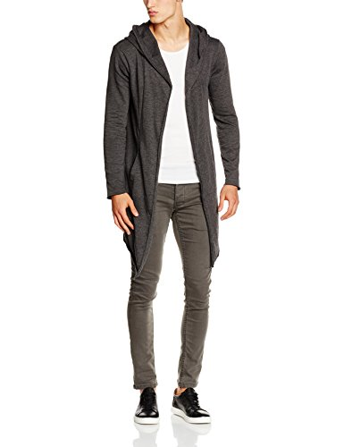 Urban Classics Long Hooded Open Edge Cardigan, Gilet Homme Gris - Grau (Charcoal 91)