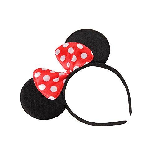 se Minnie-Maus Ohren mit Schleife - Kostüm für Erwachsene & Kinder in 4 verschiedenen Farben - perfekt für Fasching, Karneval & Cosplay - Haarreif Rot (Disney Minnie Maus Ohren)