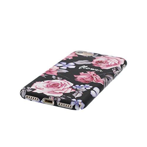 iPhone 7 Plus Custodia, iPhone 7 Plus Copertura 5.5, [ Peso leggero ultra & sottile Silicone Gel Soft Gel ] Cartoon iPhone 7 Plus Case [ Rosa Flower Fiore ], antiurto e ring supporto (Libero) Color 3