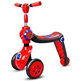 Thole Roller Wheel Scooter Abnehmbarer Sitz Rollercoaster HöHenverstellbar Kinder Mit Pu-Blitzrad,red