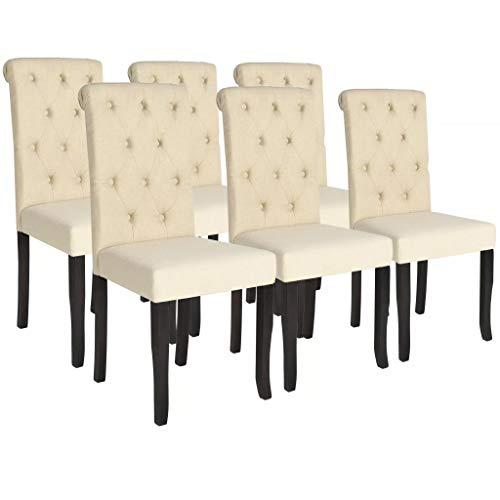 Festnight 6 STK. Esszimmerstühle Essstuhl Set aus Massivholz Stoffpolsterung Küchenstühle 42 x 52 x 96 cm Cremeweiß