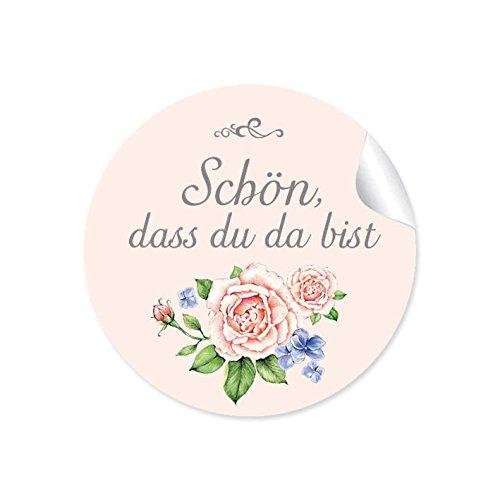 """24 STICKER:\""""Schön, dass du da bist\"""" Schöne Etiketten in BEIGE ROSA APRICOT im Vintage-Retro-Style mit liebevoll illustrierten Rosen für Gastgeschenke, Geburtstag u.v.m. • Aufkleber: 4 cm, rund, matt"""