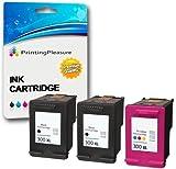 Printing Pleasure 3 XL Tintenpatronen kompatibel zu HP 300XL für Deskjet D1660 D1663 D2530 D2545 D2560 D2660 D5560 F2420 F2480 F4210 F4280 F4580 Photosmart C4780 C4680 - Schwarz/Color, hohe Kapazität