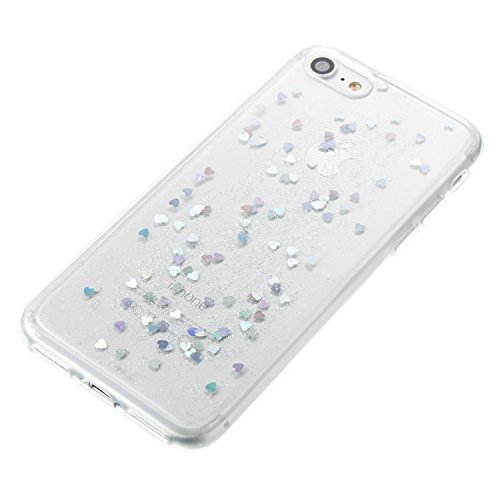 Custodia Cover per iPhone 7 / iPhone 8, Hancda Flessibile Cover del Silicone Gel Custodia in TPU Trasparente Gomma Brillantini Glitter Cuori Caso Morbido Antigraffio Cristallo Case Cover per iPhone 7  Argento