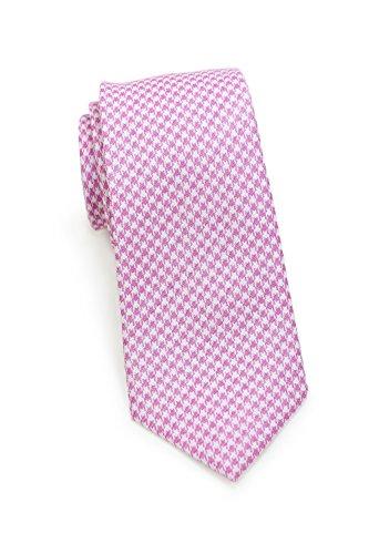 Blackbird Moderne schmale Krawatte, Baumwolle & Seide, Hahnentritt-Muster, 2 Farben, Handarbeit, 7 cm Skinny / Slim Tie, (Rosa / Weiß) (Skinny Weiße Tie)
