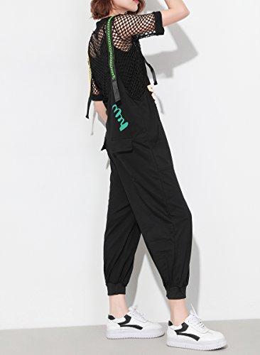 ELLAZHU Damen Sommer Farbig Träger Bedruckt Taschen Latzhose Overall GY1280