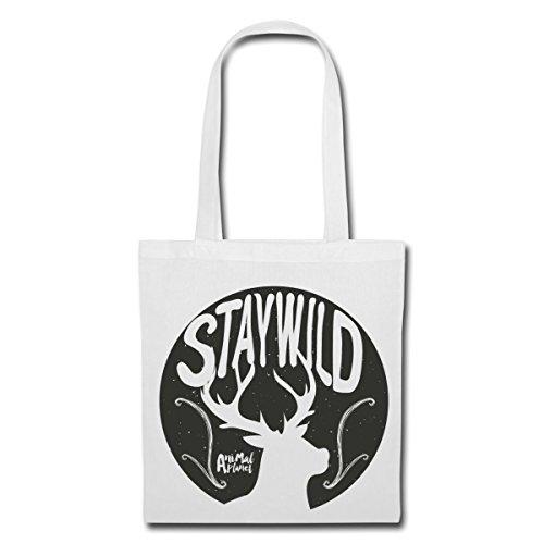Spreadshirt Animal Planet Hirsch Silhouette Stay Wild Stoffbeutel, Weiß (Wild-tier-silhouette)